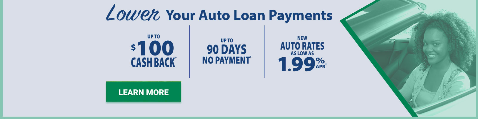 Auto Loan 90 days no pay banner